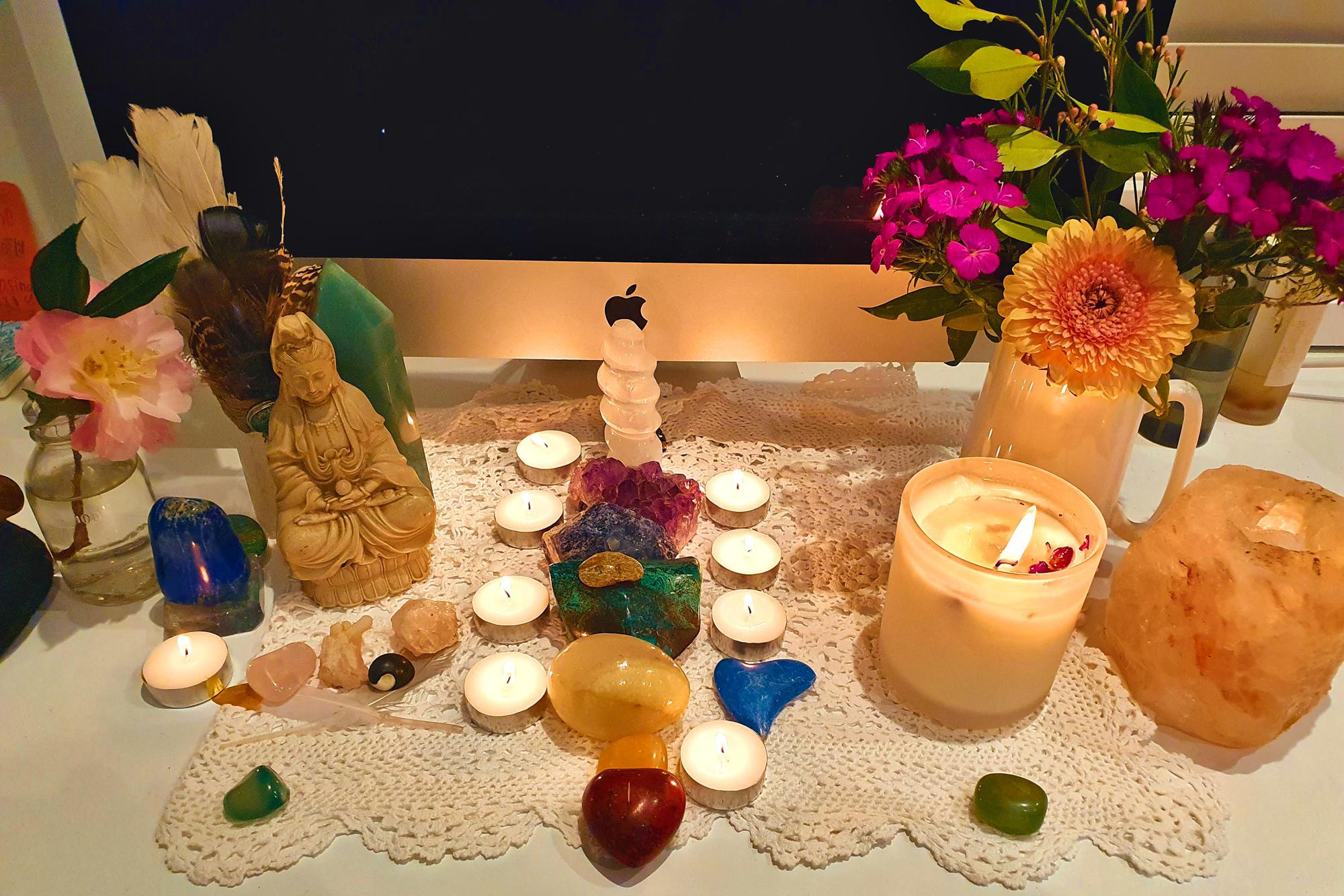 Meditation decorations in front of computer