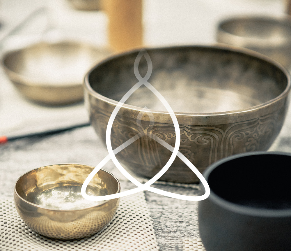 Meditation bowls with logo overlay